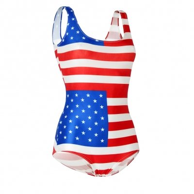 Nuovo Donne Bandiera Americana Stampa One Piece Costumi da bagno Monokini Beachwear Swimsuit taglia M 10-12