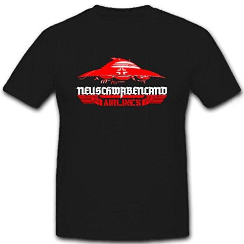 Neuschwabenland Airlines Haunebu Raumfahrzeug Flugscheibe WK - T Shirt #7064, Farbe:Schwarz, Größe:Herren L