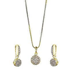 YouBella Jewellery Gold Plated American Diamond Pendant Set / Necklace Set with Earrings for Girls and Women