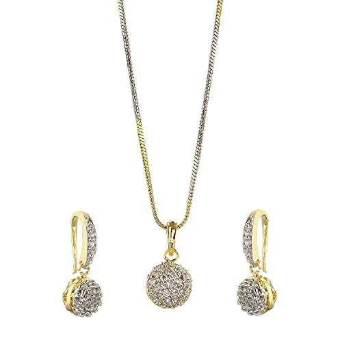 YouBella Jewellery Gold Plated American Diamond necklace for girls fashion party wear Pendant Set / Necklace Set with Earrings for Girls and Women