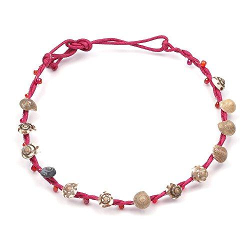 Perline rosso fatto mano con conchiglie cera cavigliera regolabile con chiusura laccio