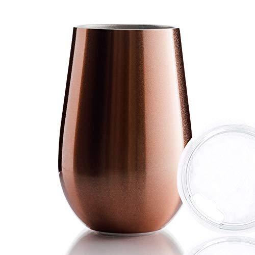 BOHORIA® Premium Edelstahl Isolierbecher | Thermo-Becher | Wein-Glas to go | Cocktail-Glas | Doppelwandig & Vakuumisoliert - (350ml) | Reisebecher mit Deckel für Kaffee, Tee (Rose Gold)