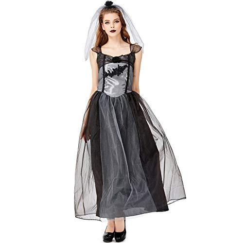 Schwarz Kreative Kleid Kostüm - CJJC Vampir Braut Kostüm, Kreative Sexy Lange Kleider Mit Schleier, Ideal Für Cosplay Holiday Party Rollenspiele, Schwarz M