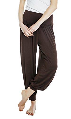 Urban GoCo Donna Soffici Solido Colore Danza Yoga Pantaloni Cintura Elasticizzata Harem Pantaloni Caffè