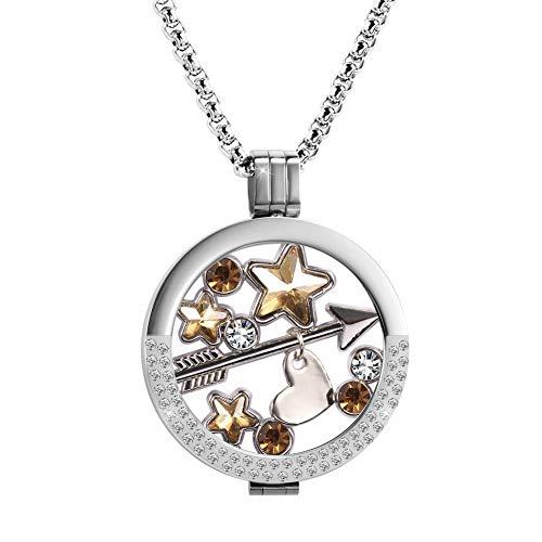 Meilanty Kette Damen, Coin 33mm Edelstahl Versilbert Halskette mit 80cm Lange Ketten Geburtstag für Mädchen Freundin Tochter exquisite Geschenk-Box ZH-006-01