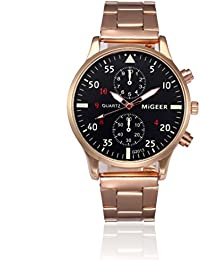 Goodsatar Moda Hombre Cristal Acero inoxidable Cuarzo analógico Reloj de  pulsera (Oro ... f0b08c66edaa