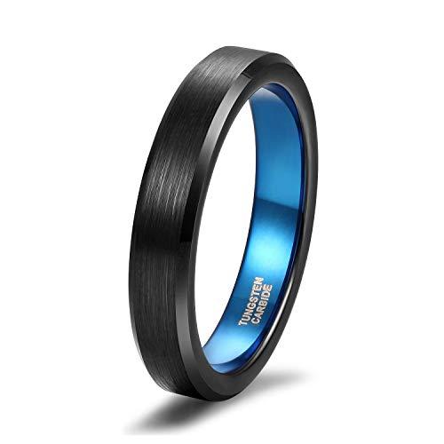Titaniumcentral Damen Herren Ringe aus Wolframcarbid Gebürstet Schwarz Verlobungsringe Trauringe (Blau(4mm), 55 (17.5))