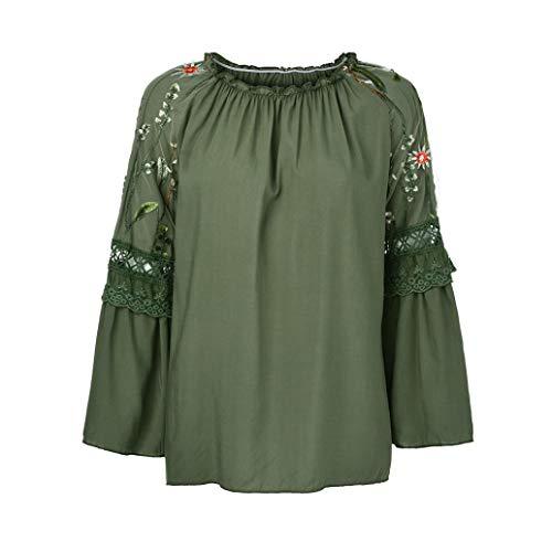 Party Kostüm Recreation And Parks - NPRADLA 2018 Mode Frauen Oansatz Bluse Blumenstickerei Spitze Flare Sleeve T Shirt Tops