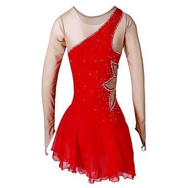 Heart&M Eiskunstlaufkleider Damen Langärmelige Eislaufen Kleider Hochelastisch Eiskunstlauf-Kleid Elastan Rot EiskunstlaufkleidungOutdoor , (Kostüme Für Eiskunstlauf Frauen)