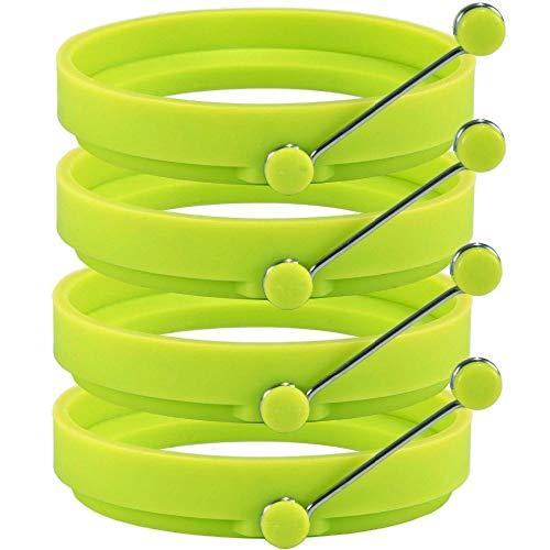 Tianzhiyi Ei-Werkzeug Pfannkuchenform Silikon Eierring Silikon Kochringe Runde Antihaft-Bratpfannkuchenformen 4 STK (Color : Green)