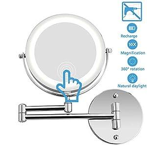 Namotu LED kosmetikspiegel mit licht, schminkspiegel mit 3 Beleuchtungseinstellungen Modularen Makeup aufbewahrung, 17,8cm Make Up Spiegel Via Touch-Screen und 120° Schwenkbar, USB-Aufladung