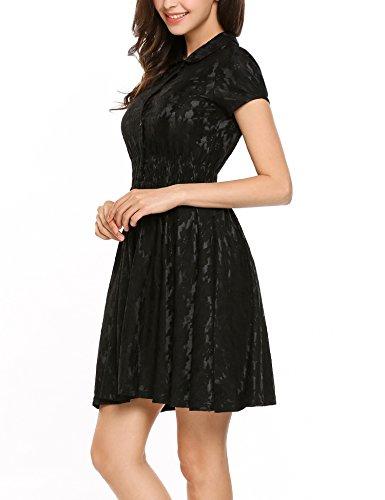 Meaneor Damen 1950S Retro Vintage Rockabilly Cocktailkleid Spitzenkleid Sommerkleid Midi Kleider Brautjungfernkleid Schwarz