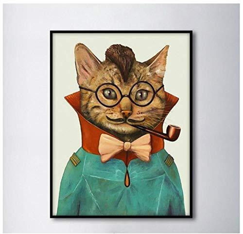 Cqzk Retro Rauchende Katze Dekorative Gemälde Bild Wandkunst Leinwand Malerei für Wohnzimmer 30 cm X 40 cm X 1 kein Rahmen