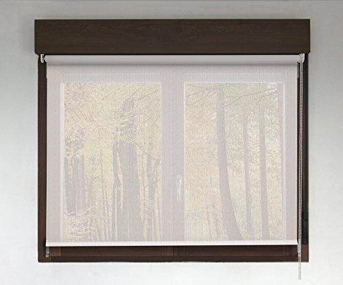 Estor enrollable SCREEN PREMIUM (desde 40 hasta 300cm de ancho - permite paso de luz y ver el exterior sin que lo vean). Color blanco lino. Medida 246cm x 120cm para ventanas y puertas
