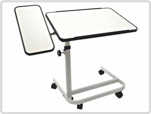 Beistelltisch 2 - geteilt, Farbe:weiß, fahrbar - Beistellwagen Krankentisch Bett-Tisch