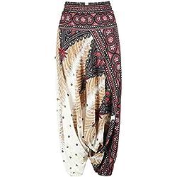 JohnJohnsen Estilo étnico 3D de impresión de la Danza del Vientre de la India Pantalones Anchos Pierna Pantalones Harem de la Manera de Yoga Pantalones Sueltos Aptitud para la Mujer (Multicolor)
