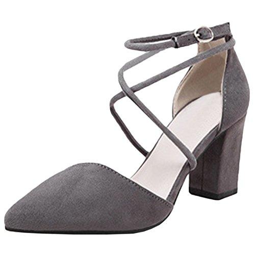 Oasap Women's Pointed Toe Ankle Buckle Block Heels Pumps Grey