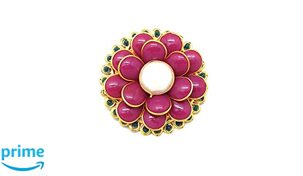 6b612d3322b Buy Saree Pin Brooch Saree Accessories Decorated With pink & Green Pacchi,  beads & flower Online at Low Prices in India | Amazon Jewellery Store -  Amazon.in