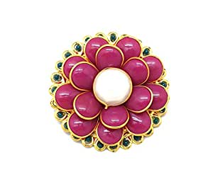 a3e2d824db5 ... Saree Pin Brooch Saree Accessories Decorated With pink & Green Pacchi ,  beads