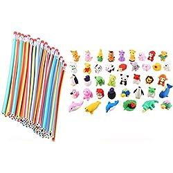 Cosoro - Lápices flexibles y suaves + 20 unidades de gomas de borrar de animales, gomas de borrar para la escuela, equipo divertido, juguetes, bolsa de regalo para niños