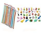 Cosoro 20pcs souple et flexible Bendy Crayons + 20lots Lot d'animaux gommes crayon gommes école Fun Kit de jouet DIY Lots cadeaux de fête pour enfants