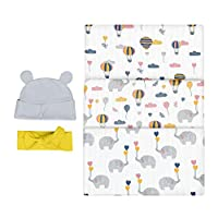 Bubzi Co Elephant Swaddle Muslin Receiving Blanket Set -Pack of 3 - Gender Neutral Design -Soft 100% Cotton Fabric - 47 x 47 inch- 120 x 120cm - Infant Swaddling Blankets for Baby Registry Burp Diaper