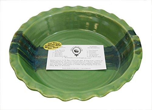 Clay In Motion Handmade Ceramic Deep Dish 9 Pie Plate - Misty Green by Clay in Motion Deep Dish Pie Plate