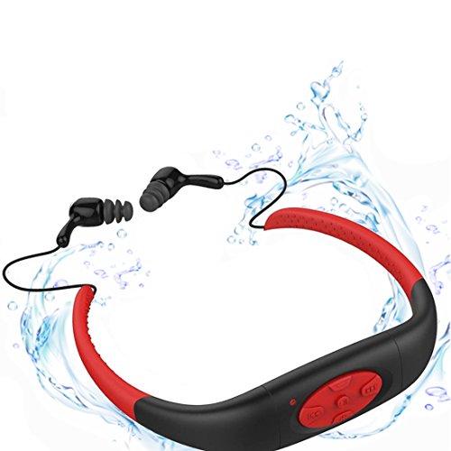 MP3 di nuoto, yikeshu IPX8 Impermeabile MP3 con radio FM Musica auricolari Stereo per nuotare 3-5Metri ciclismo navigare Running Sport
