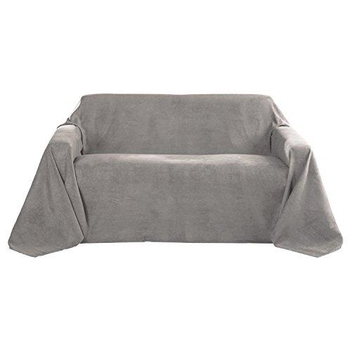 Beautissu Romantica Couverture - Plaid - 210x280cm - Couvre-lit ou sofa jeté de canapé effet velours - Gris