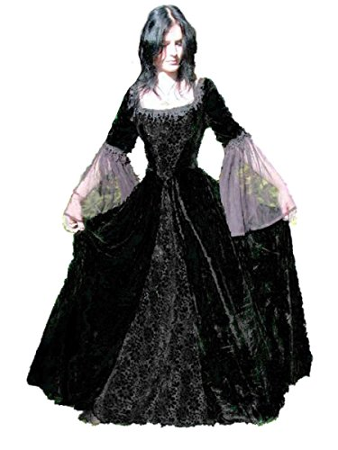 Inter-Moden Dark Dreams Gothic Mittelalter LARP Kleid Dark Wedding, Farbe:Schwarz, ()