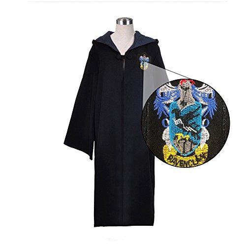 Egleson Ravenclaw del Traje de Harry Potter Larga Capa Azul y Negro Robe con Vestido de Capa de la Capilla Carnaval Mago/Asistente (M, Ravenclaw)