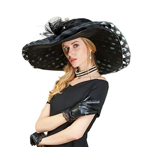 TOBEEY Kopfschmuck Hüte für Frauen 100% Organza großen Breiten Rand Blume Fedoras Kentucky Derby Kirche Tea Party Headwear