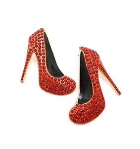 Boucles d'oreilles couleur or et rouge en forme de soulier à talon haut, avec pierres de Strass RE1063GDRED