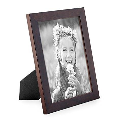 Bilderrahmen 13x18 cm Nuss Modern Massivholz-Rahmen mit Glasscheibe und Zubehör / Fotorahmen