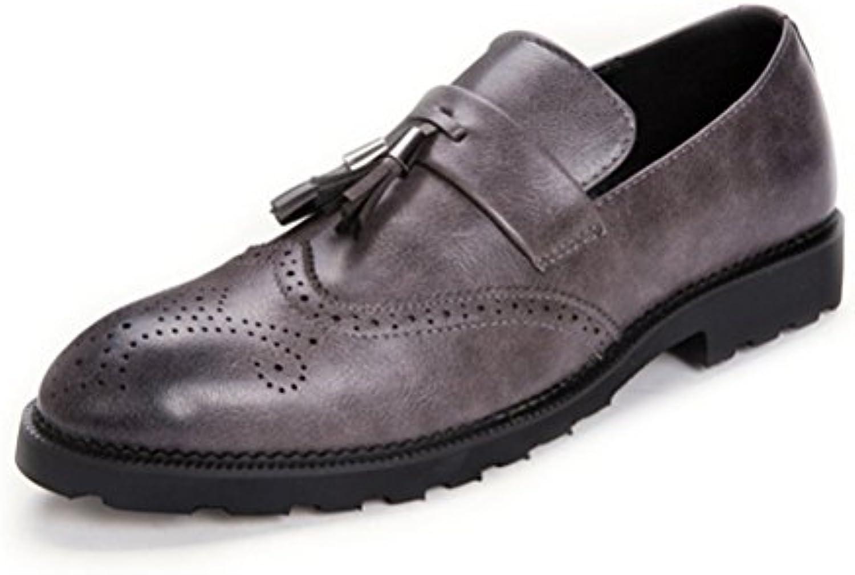 LYZGF Hombre Moda Para Jóvenes Casual Moda Boda Borlas Zapatos De Cuero Bullock