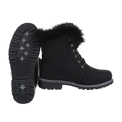 Ital-Design Schnürstiefeletten Damenschuhe Combat Boots Blockabsatz Warm Gefütterte Schnürsenkel Stiefeletten Schwarz 16-066