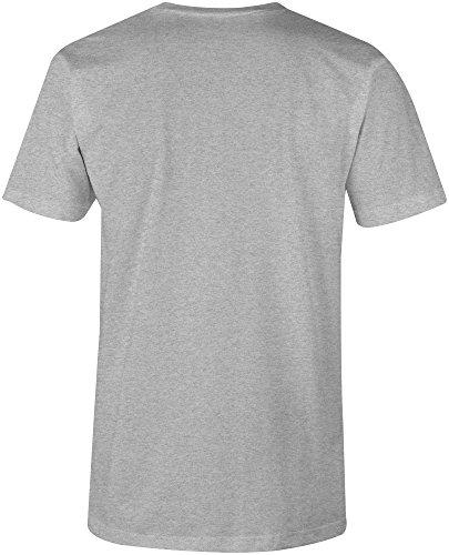 Manufactured 2001 - V-Neck T-Shirt Männer-Herren - hochwertig bedruckt mit lustigem Spruch - Die perfekte Geschenk-Idee (05) grau-meliert