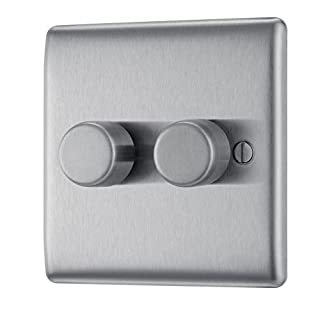 BG Electrical NBS82P 400W Double 2-Way Metal Brushed Steel Push On/ Off Dimmer Switch
