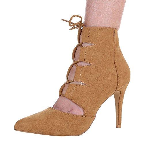 Damen Pumps Schuhe High Heels Stiletto Abendschuhe Business Club Sandaletten schwarz beige camle pink 36 37 38 39 40 41 Camel