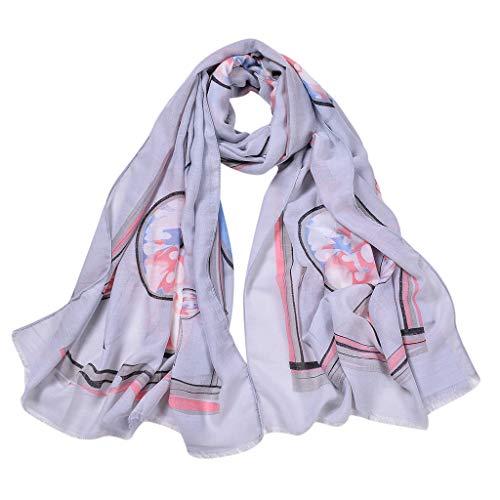 ZHANSANFM Seiden-Tuch Damen Schal Stola Halstuch Nachahmung Seidenschal Sonnenschal Schal für Sommer Herbst Hohe Qualität Hautfreundlich Anti-Allergie Umschlagstuch Poncho Grau