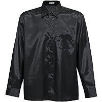 Camisa para hombre de manga larga de seda tailandesa, negra, negro, XL