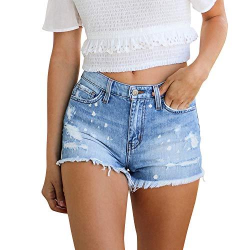 Glücklich Mid-rise Jeans (LAEMILIA Kurze Hose Damen Sommer Jeans Löcher Shorts Slim Fit Hell Blau EU 38)