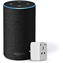 Amazon Echo (Black) Bundle with Oakter 6A smart plug