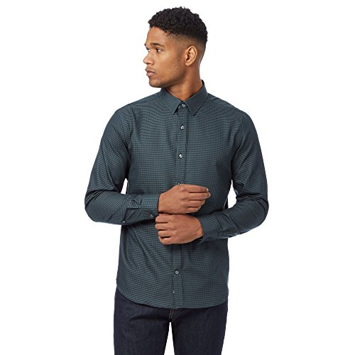 j-by-jasper-conran-mens-dark-green-checked-regular-fit-shirt-xl