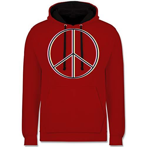 Statement Shirts - Peace Zeichen bunt - M - Rot/Schwarz - JH003 - Kontrast Hoodie - Männer Hoodie Lime Green
