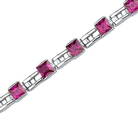 Revoni Charming Style: Princess Cut Ruby Gemstone Bracelet in Sterling Silver