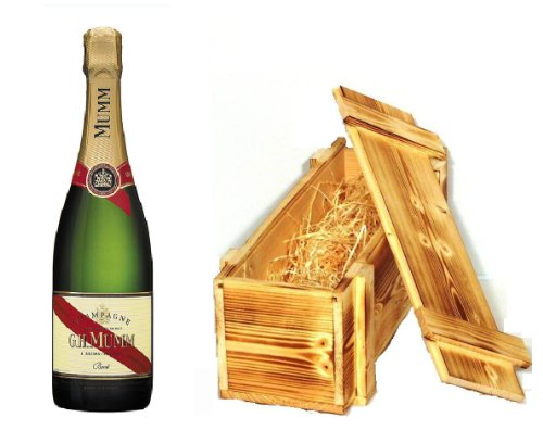 Mumm Cordon Rouge Champagner in Holzkiste geflammt 12{bc66577d66001747f1c78881df0ff671fa017f88a25063361510621a990150df} 0,75 l Flasche