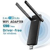 AIZUSOX Antena Adaptador WiFi1200Mbps USB 3.0 Inalámbrico Receptor WiFi AC 802.11ac de Banda Dual 2.4GHz/300Mbps 5.8GHz/867Mbpspara PC/Laptop Compatible con Windows XP/Vista/7/8/10 Mac Os