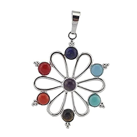 Contever® 7 Beads Chakra Charm Stone Sunflower Pendant for Necklace