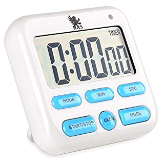 H&S Kitchen Timer Alarm Clock Digital Cooking Timer Magnetic Countdown Clock Large LCD Screen Loud Alarm - Blue Button